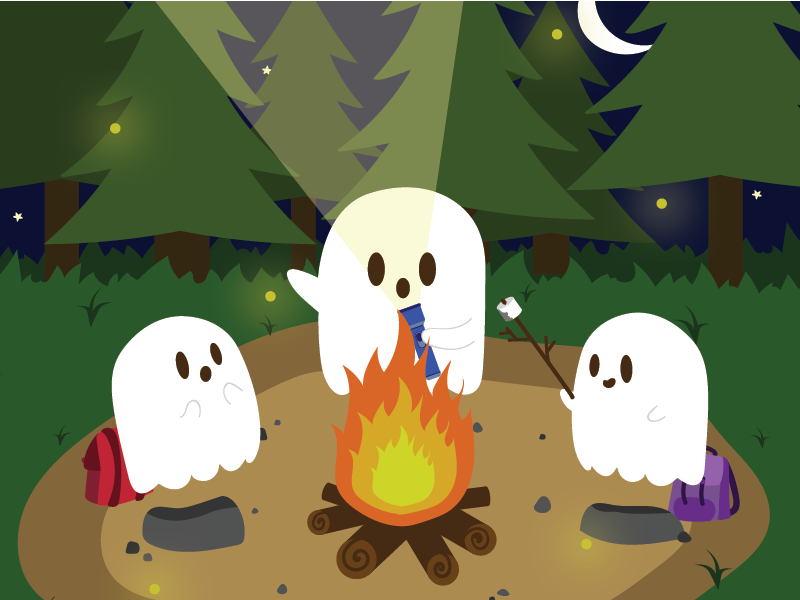 ghosts around campfire