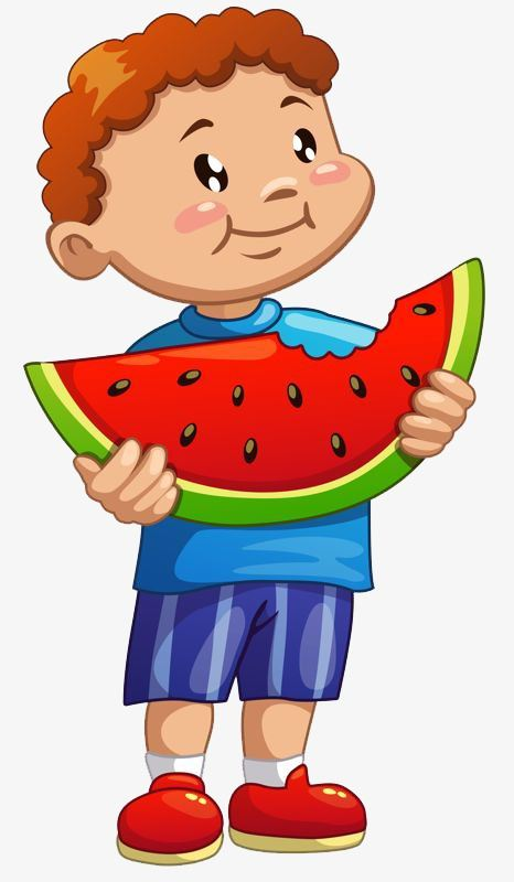 boy eating watermelon image